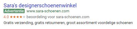 Google AdWords verkopersbeoordelingen