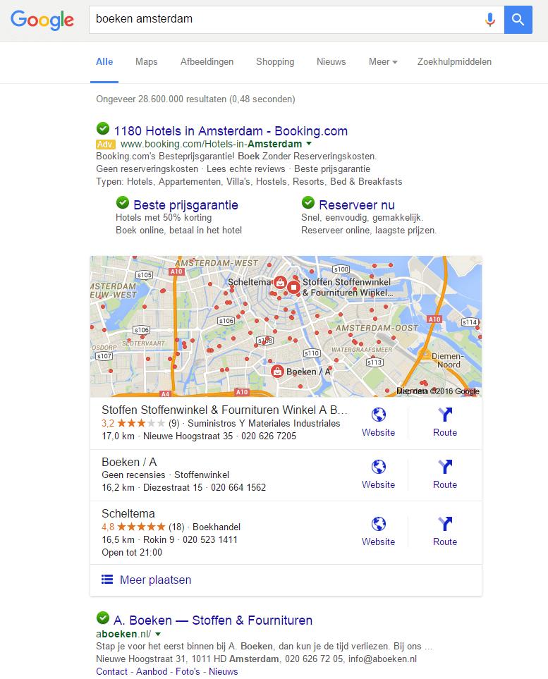Lokale zoekresultaten uitvergroot