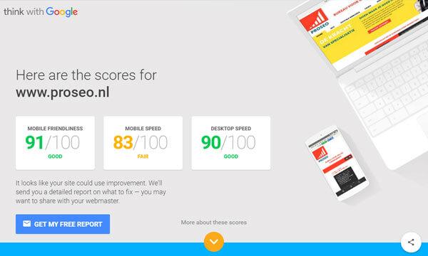 Resultaten mobielvriendelijke test Google